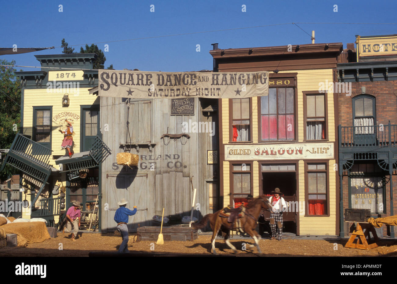 Stunt Show at the Universal Studios in Los Angeles California USA - Stock Image