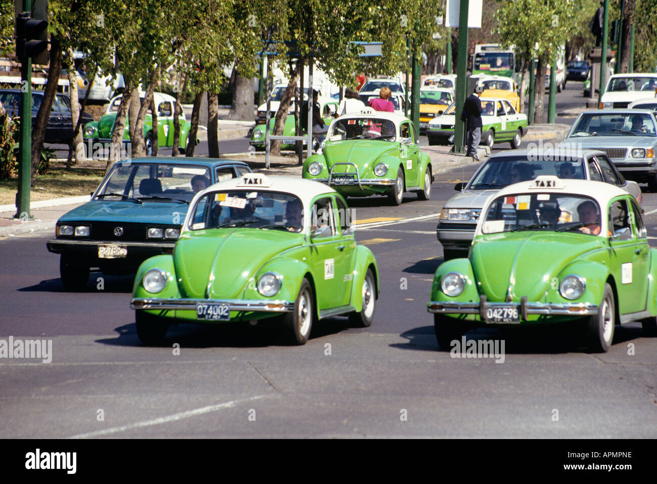 A number of green VW beetles the city s ubiquitous taxis in the