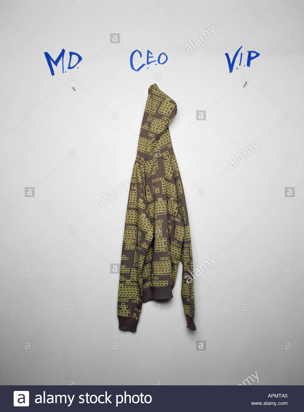 Jacket hanging on a wall - Stock Image
