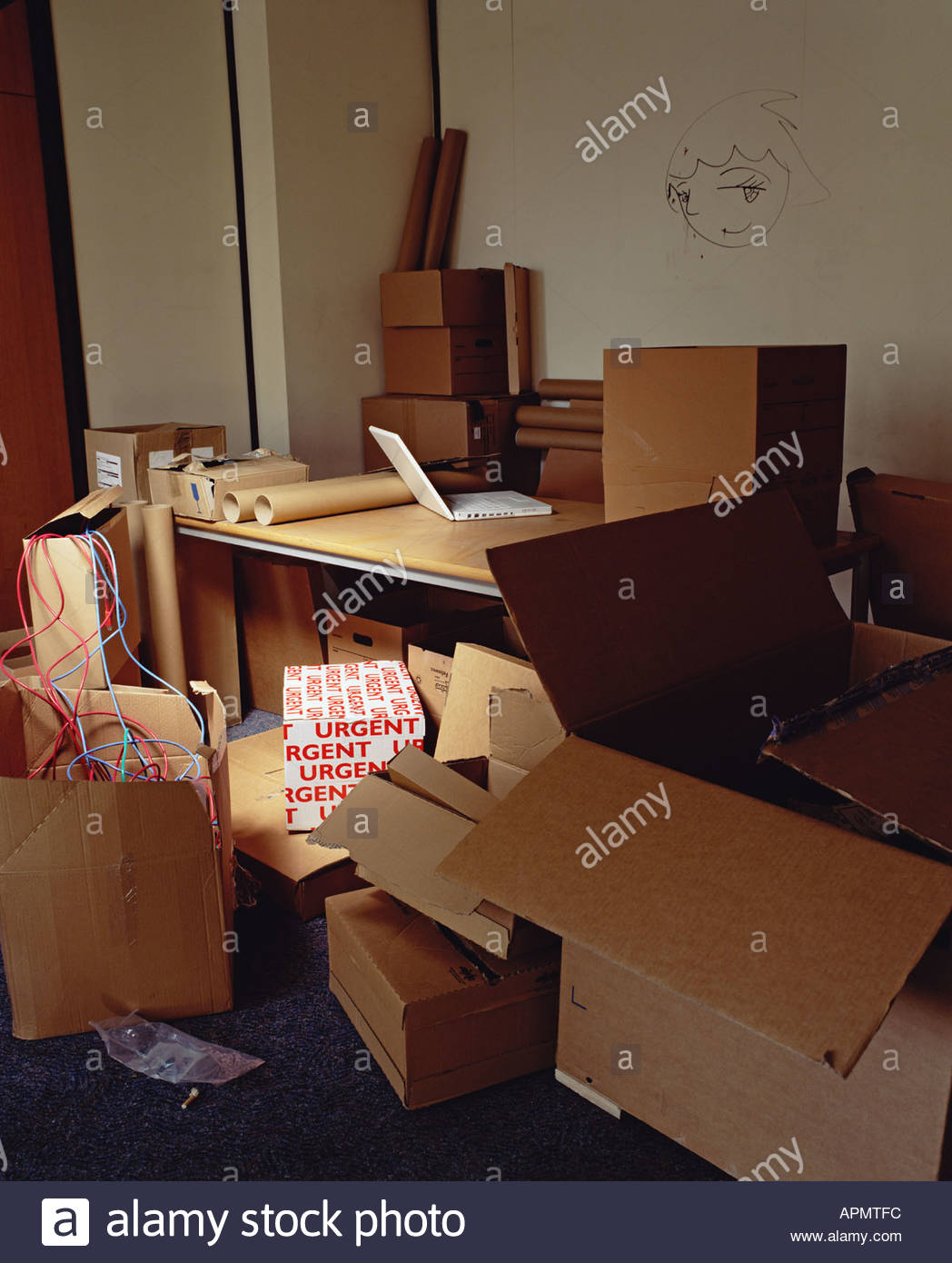 Cardboard boxes in office - Stock Image