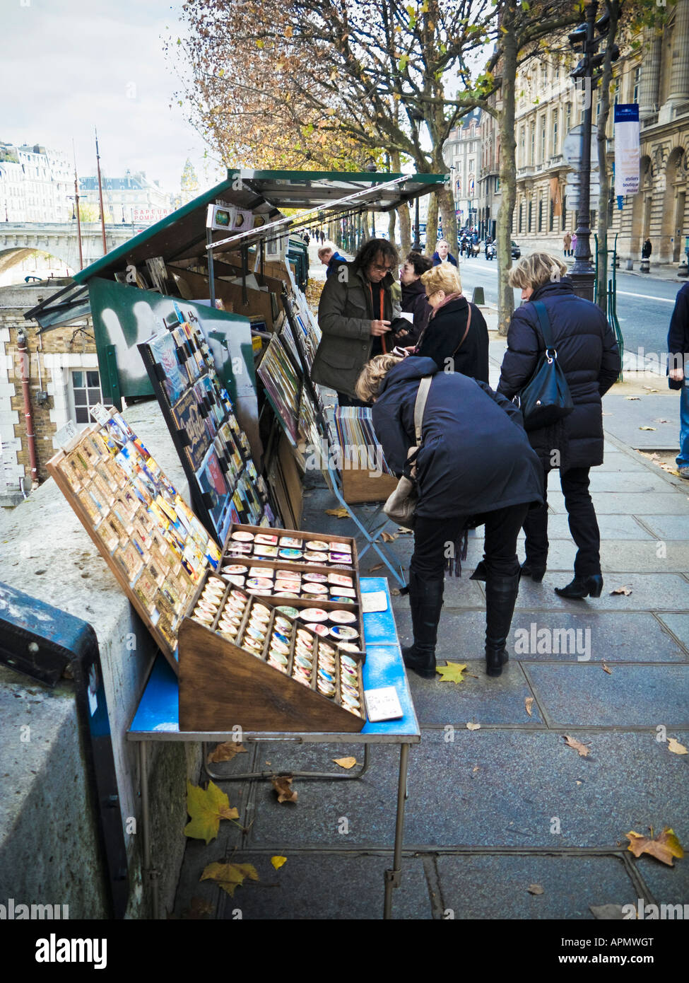 Open air stall selling art and books on the Left Bank in Paris France Europe - Stock Image