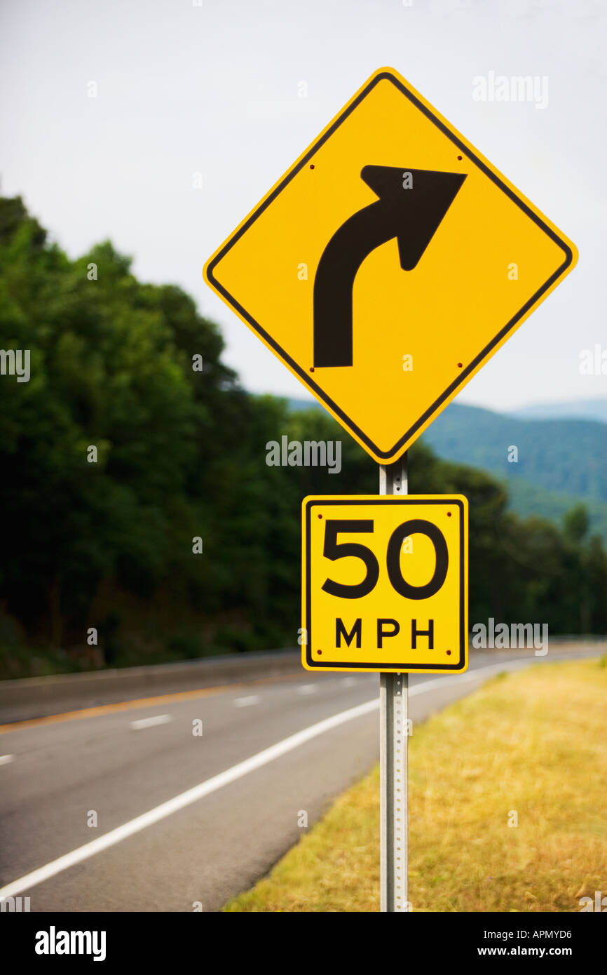 Curve in the road Stock Photo
