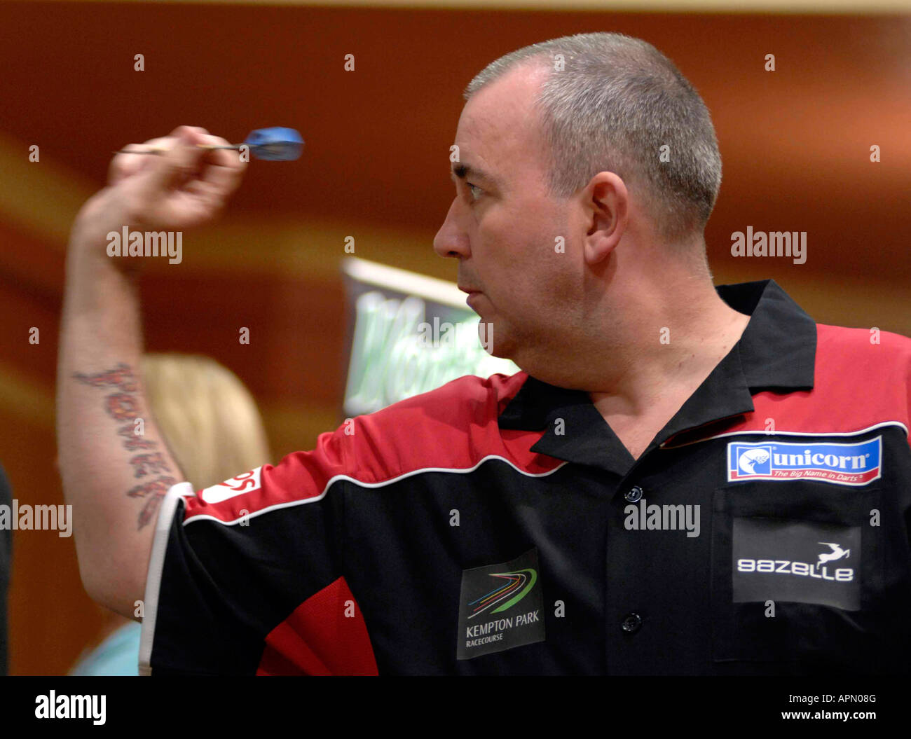 'Phil The Power Taylor' a former worlds darts champion - Stock Image