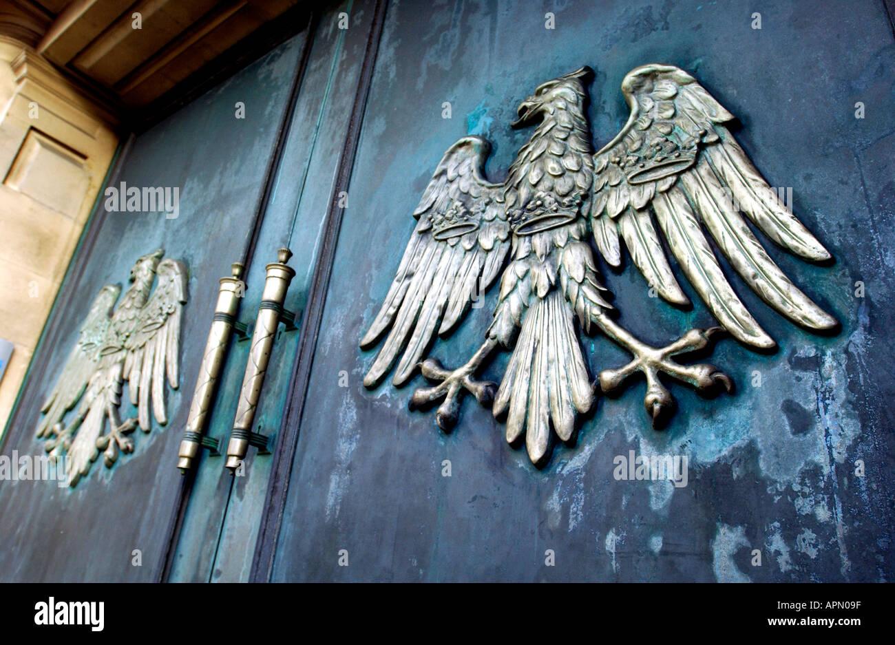 Barclays Bank logo on closed metal doors - Stock Image