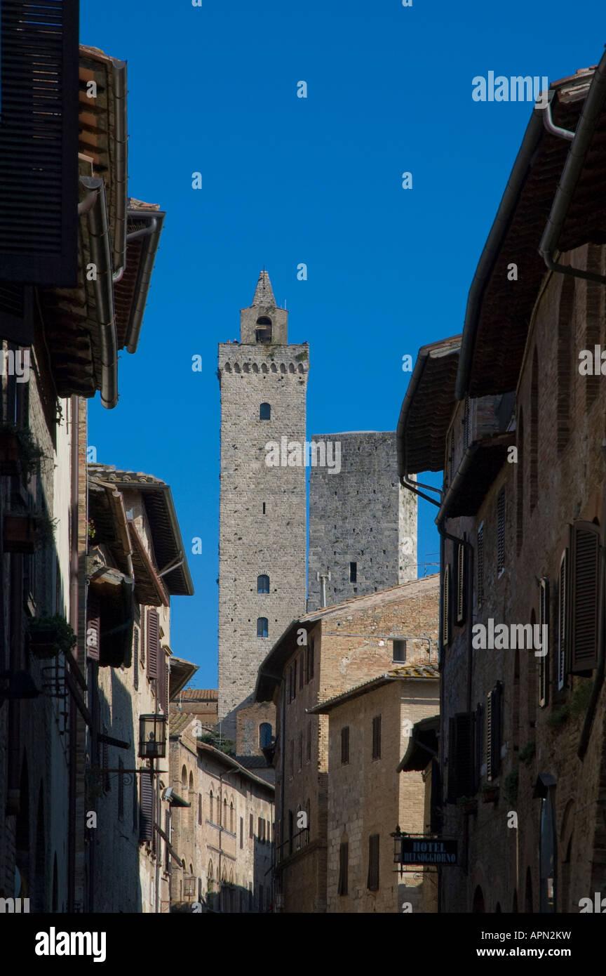 Torre Grossa form the Via San Giovanni in San Gimignano, Tuscany Italy - Stock Image