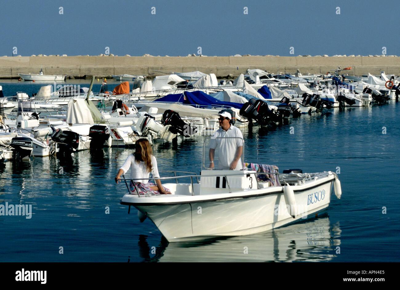 boats moored in the Conero marina in Le Marche Italy Stock Photo