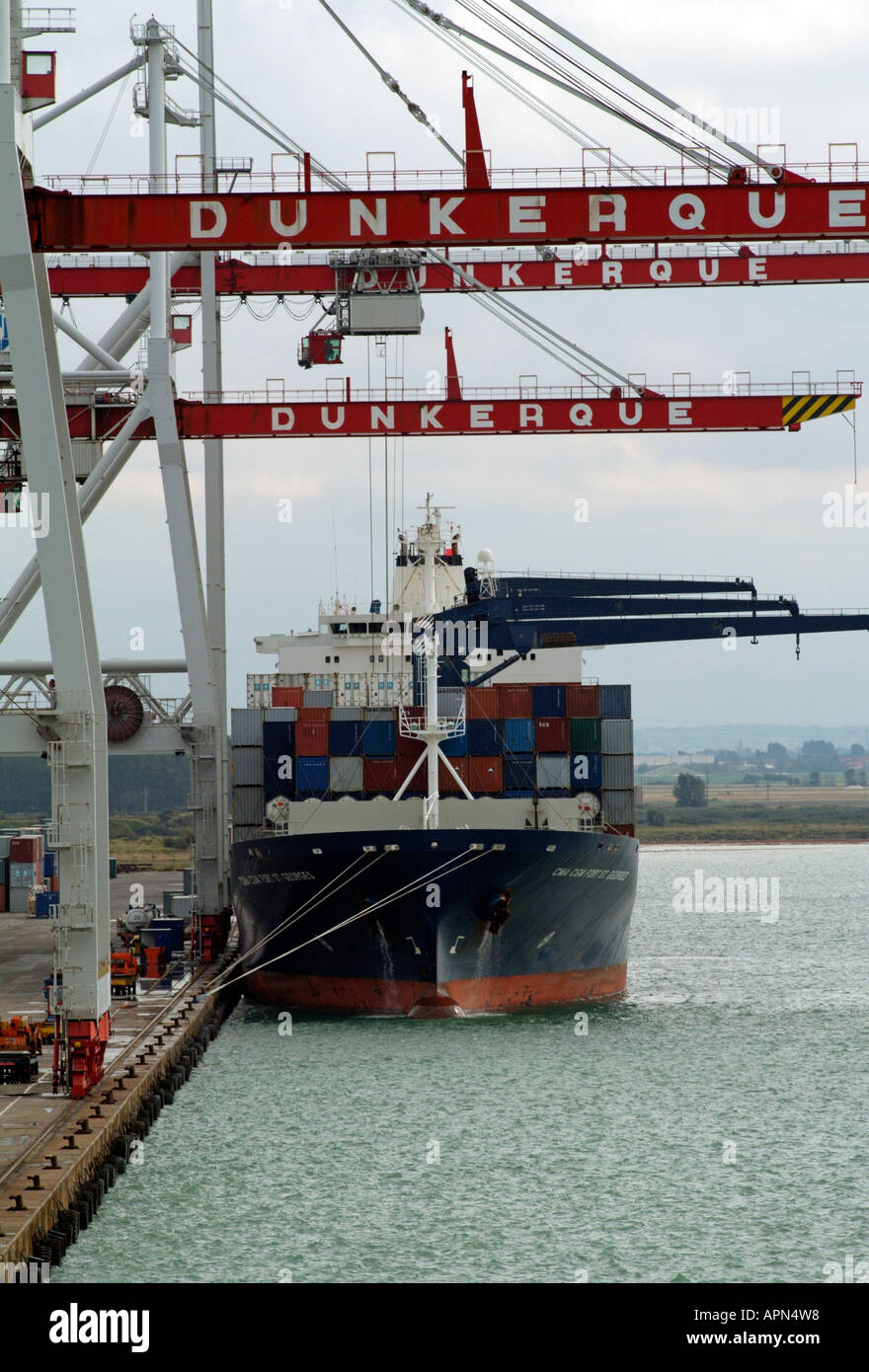 Container port Dunkerque northern France Europe EU Stock Photo
