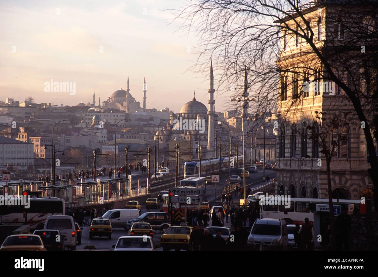 ISTANBUL, TURKEY. Rush hour in Karakoy looking across the Galata Bridge towards Eminonu. 2006. Stock Photo