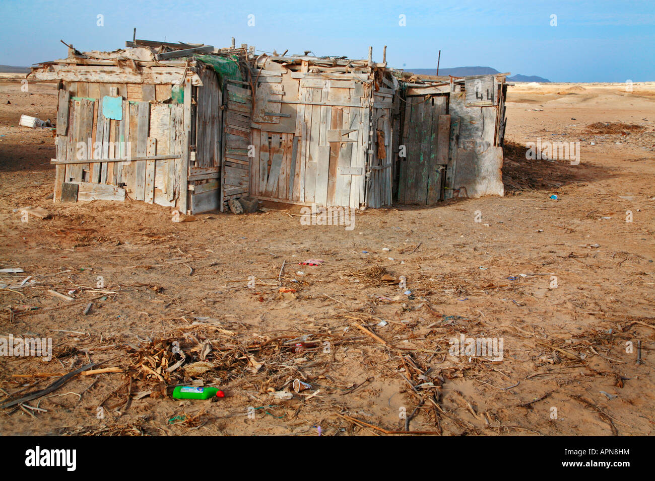 Wooden shacks in the slums behind Sal tourist resort in the Cape Verde islands - Stock Image