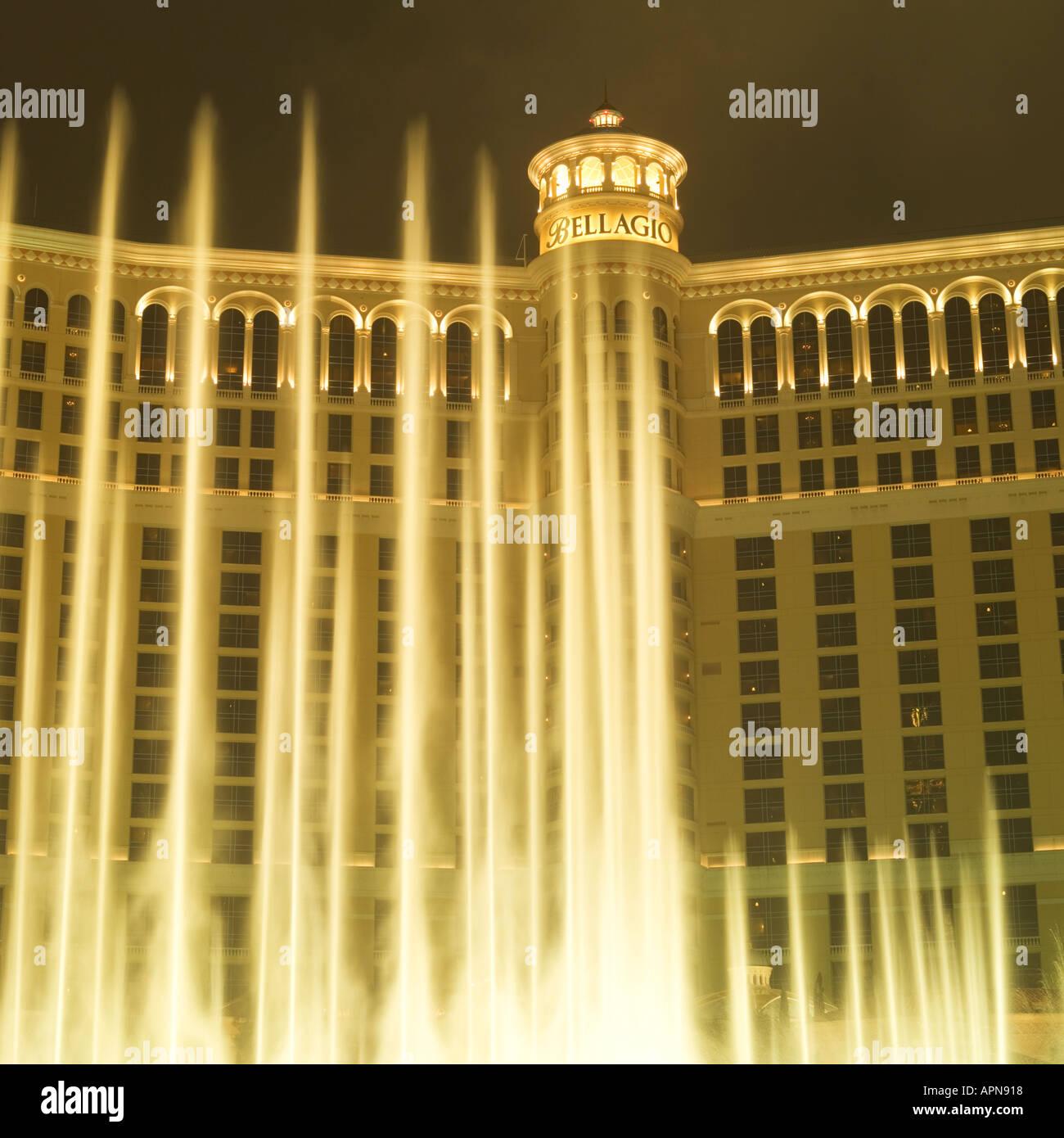Fountain Show at Bellagio Las Vegas USA - Stock Image