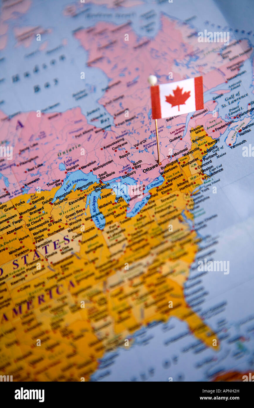 Flag Pin Placed On World Map In The Capital Of Canada Ottawa Stock