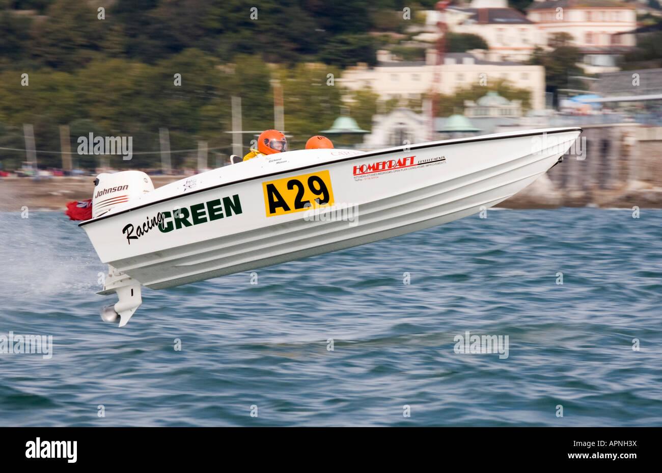 Offshore circuit racing Racing Green No. A29 Racing at Torquay England - Stock Image