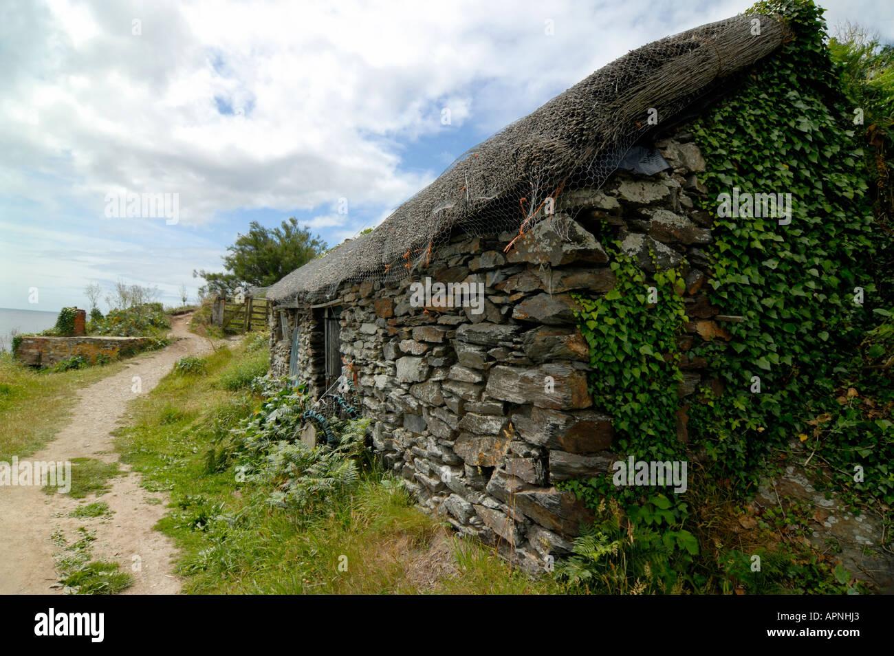 Fishermen s hut at Prusia Cove Prussia Cove Cornwall England - Stock Image