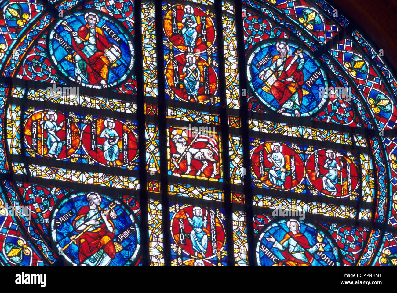 BEAUTIFUL STAINED GLASS WINDOW IN SAINT PAUL CATHEDRAL, ST