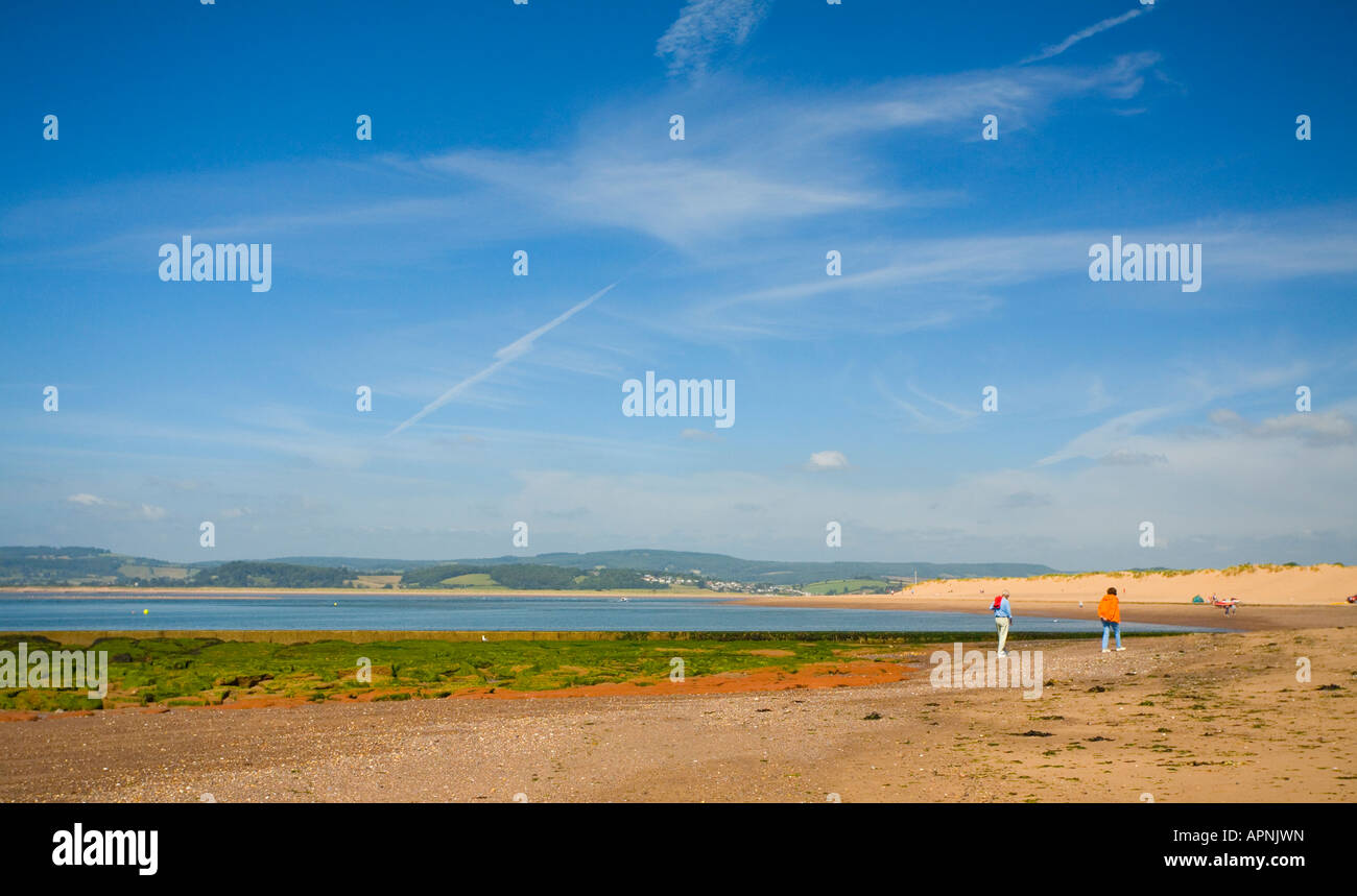 Walkers on the Beach at Exmouth, Devon, England - Stock Image