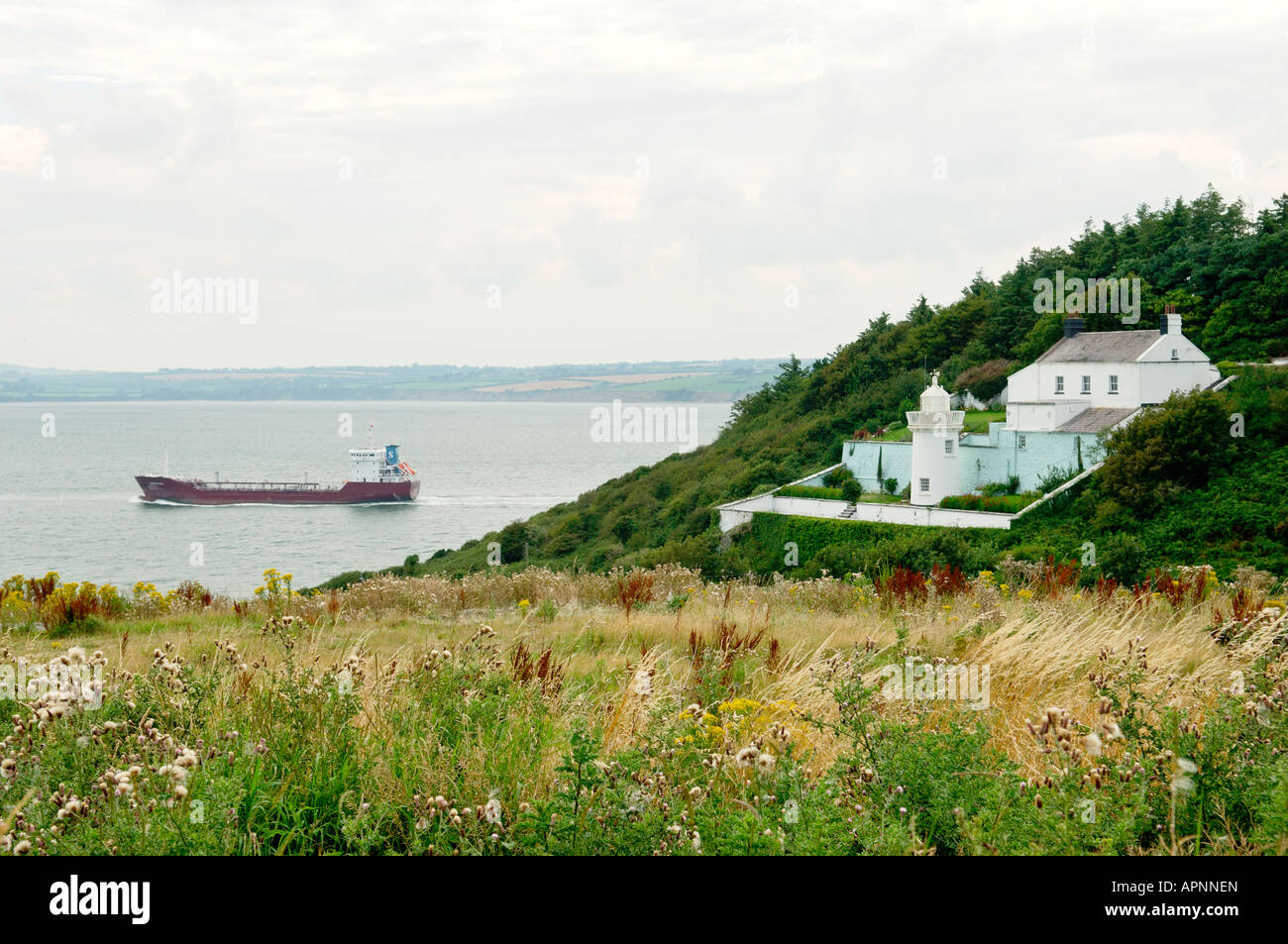 Cargo ship leaves Waterford Harbour, estuary of the rivers Suir and Barrow. Navigation light at Duncannon, Wexford, - Stock Image