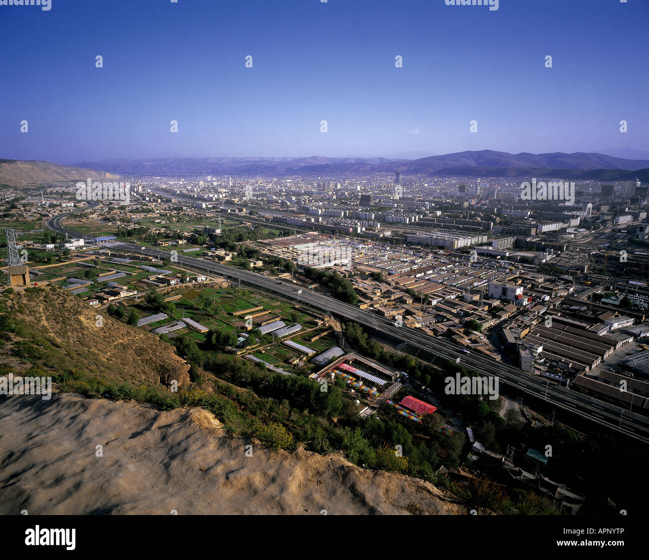 Panoramic view of Xining, capital of Qinghai province, China. - Stock Image