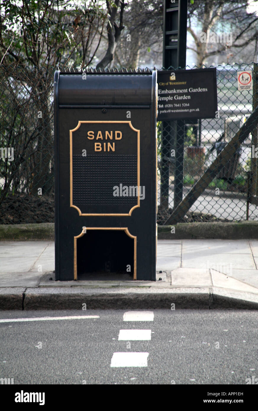 London Embankment sand bin - Stock Image