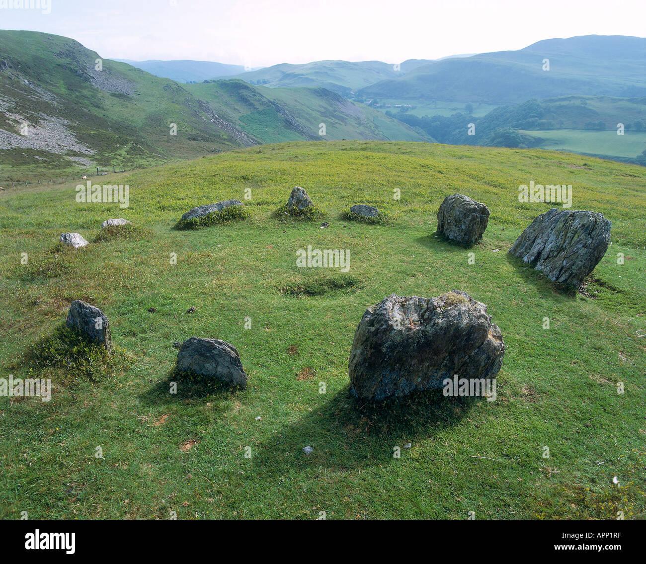 Stone circle at Ysbyty Cynfyn Stock Photo