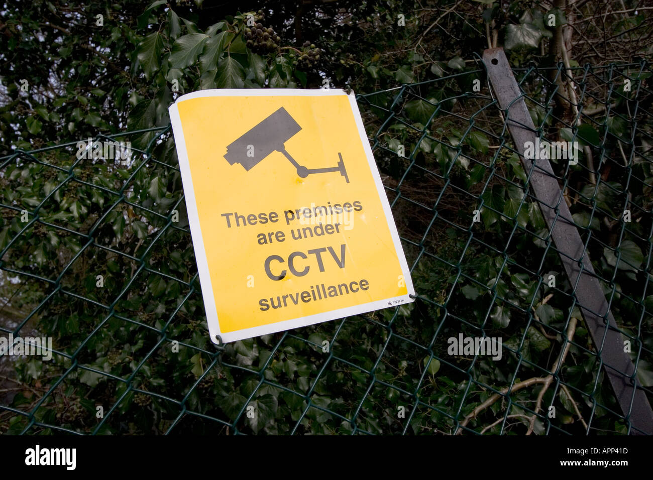 Closed circuit security camera sign warning CCTV in operation - Stock Image