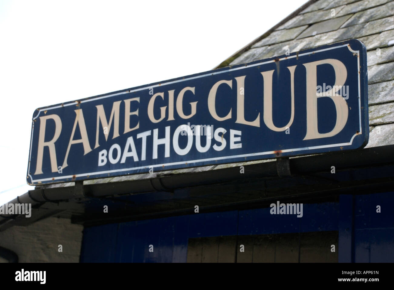 Rame Gig Club boathouse wooden sign - Stock Image