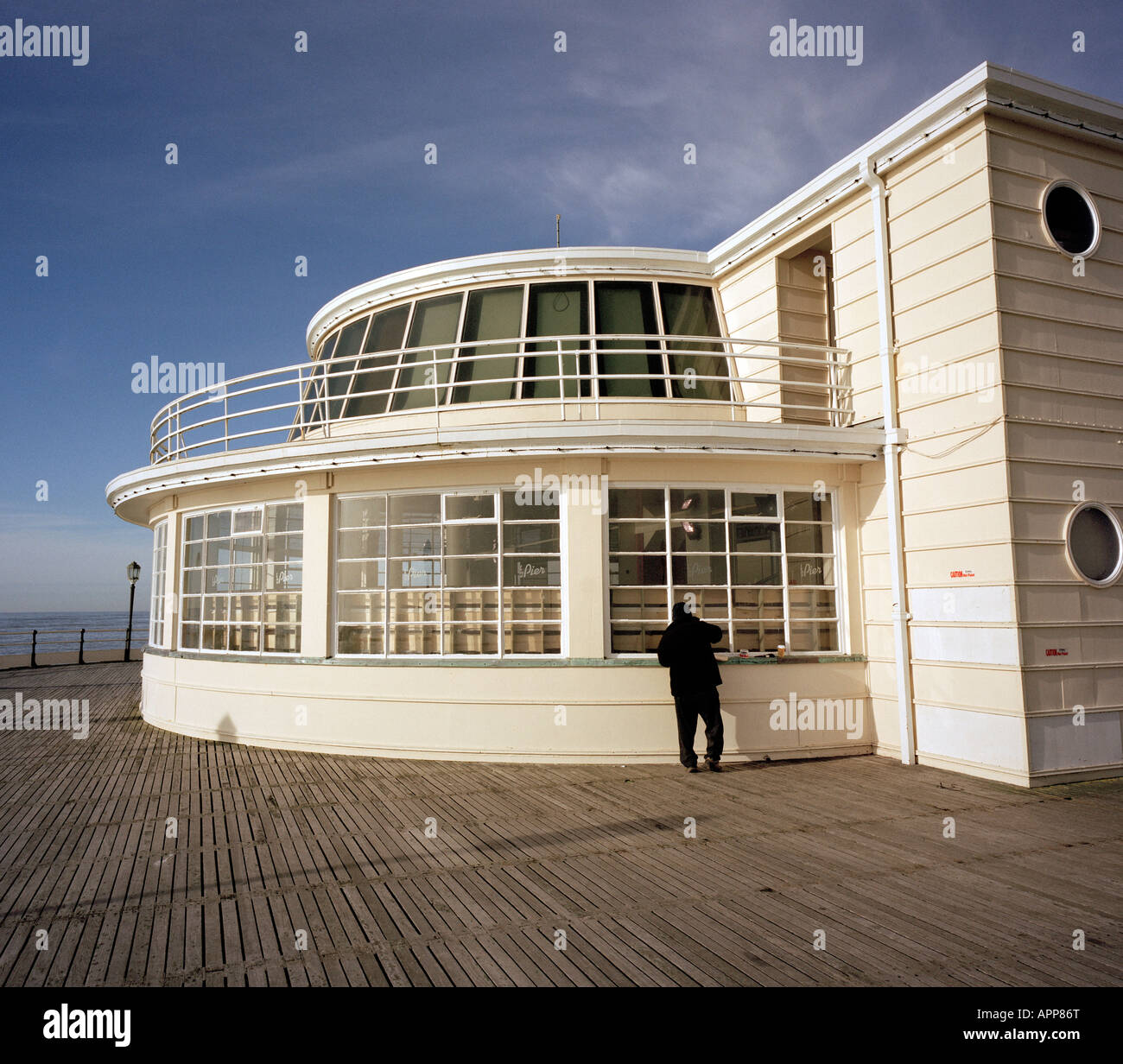 Architecture of Worthing Pier West Sussex England UK - Stock Image