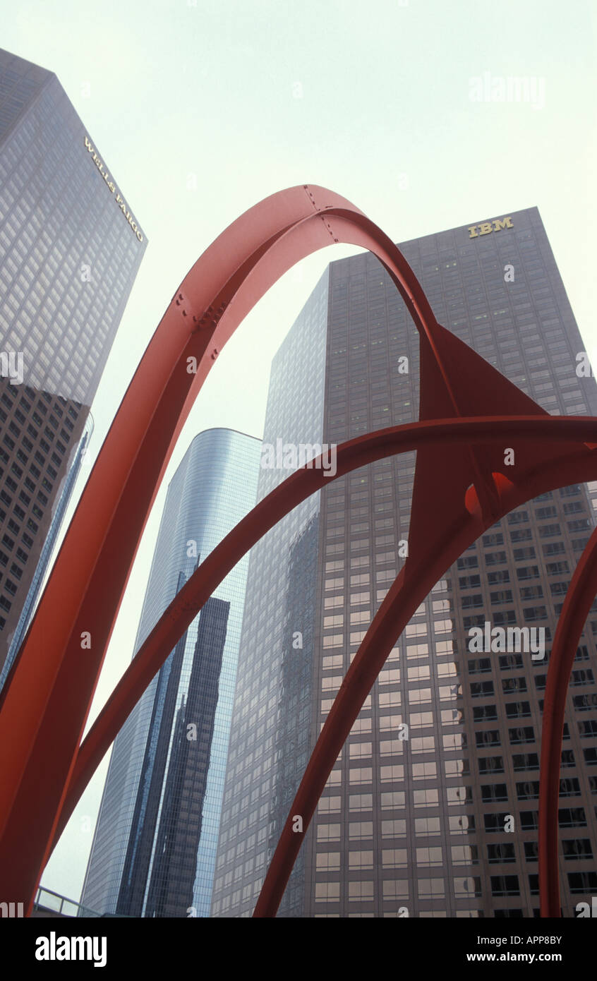 Art of Calder in front of skyscrapers at Financial District in Los Angeles California USA - Stock Image