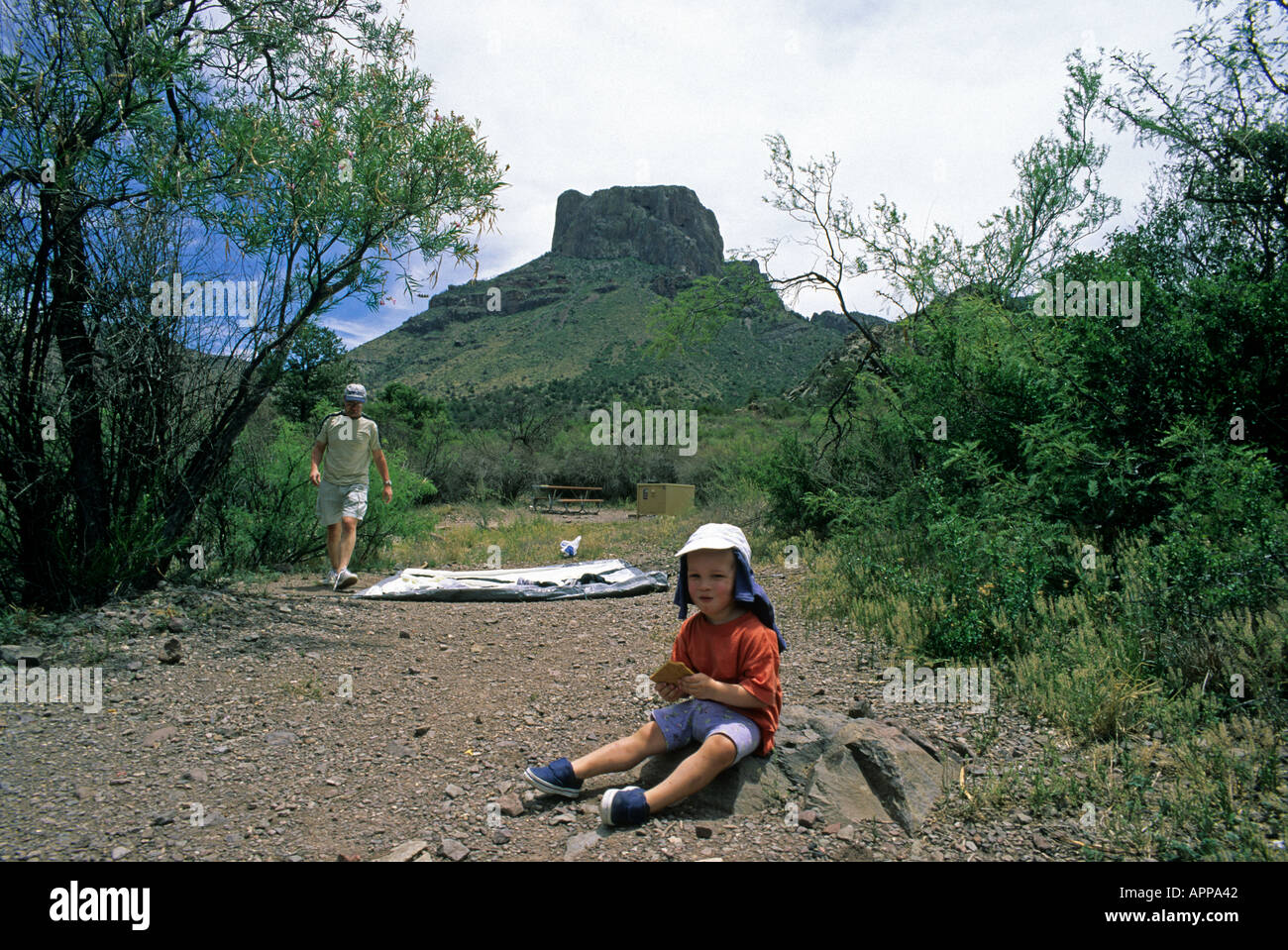 USA United States of America Texas Big Bend Hisos Mountains camp site tent - Stock Image