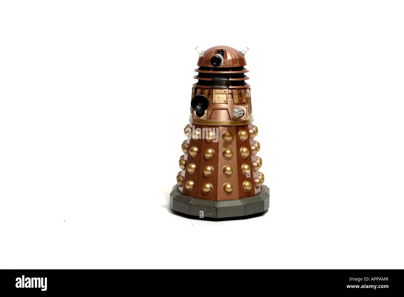 A Dalek. The Daleks are synonymous with the BBC TV series 'Doctor Who'. The Daleks are a living being in a tough - Stock Image