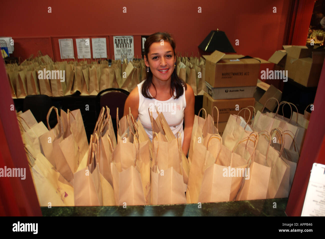 Sample bags ready to be given away Ki Festival Brisbane Queensland Australia dsc 8503 - Stock Image