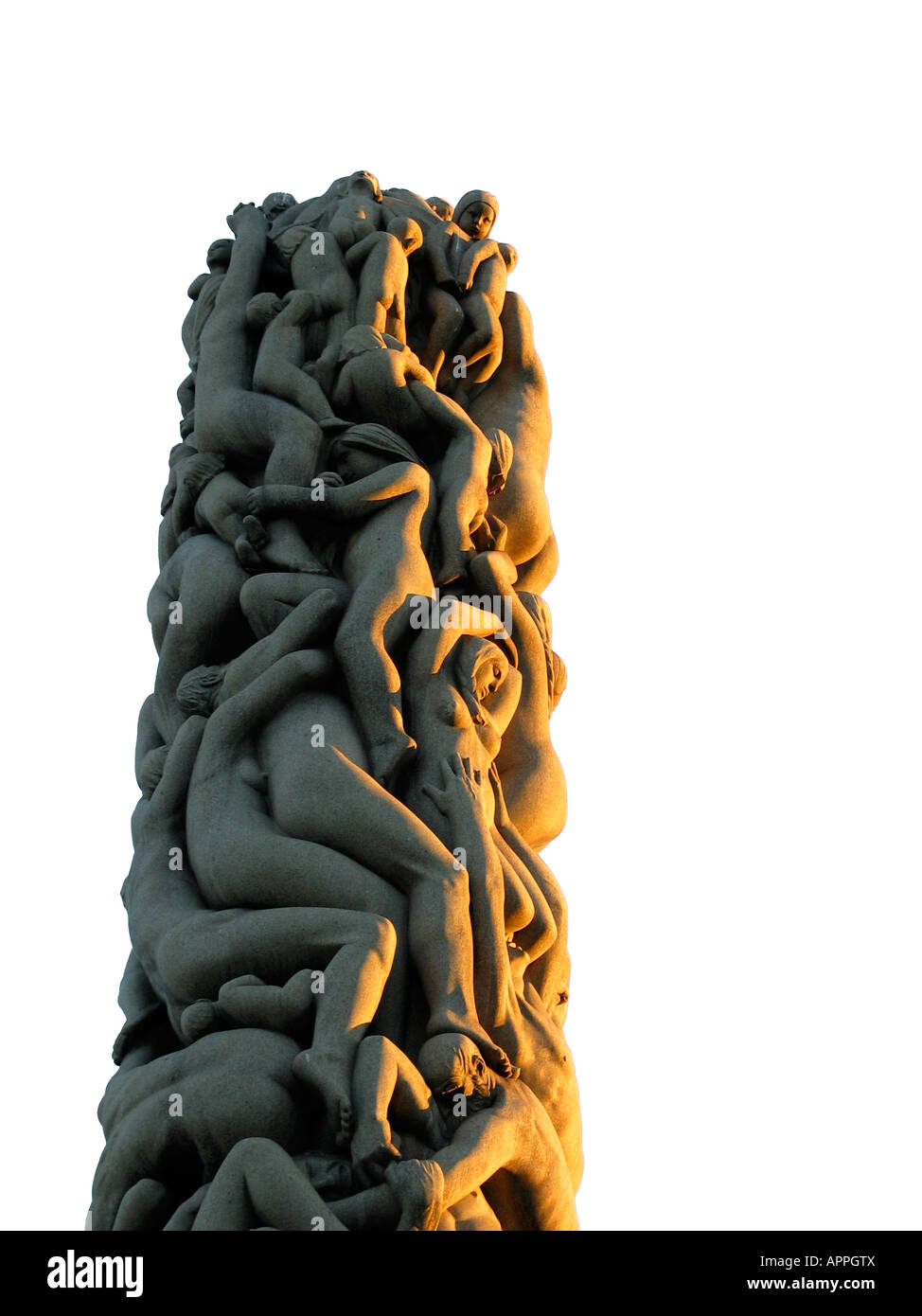 Top of the Monolith in Vigeland Sculpture Park, Frogner Park, Oslo, Norway Stock Photo