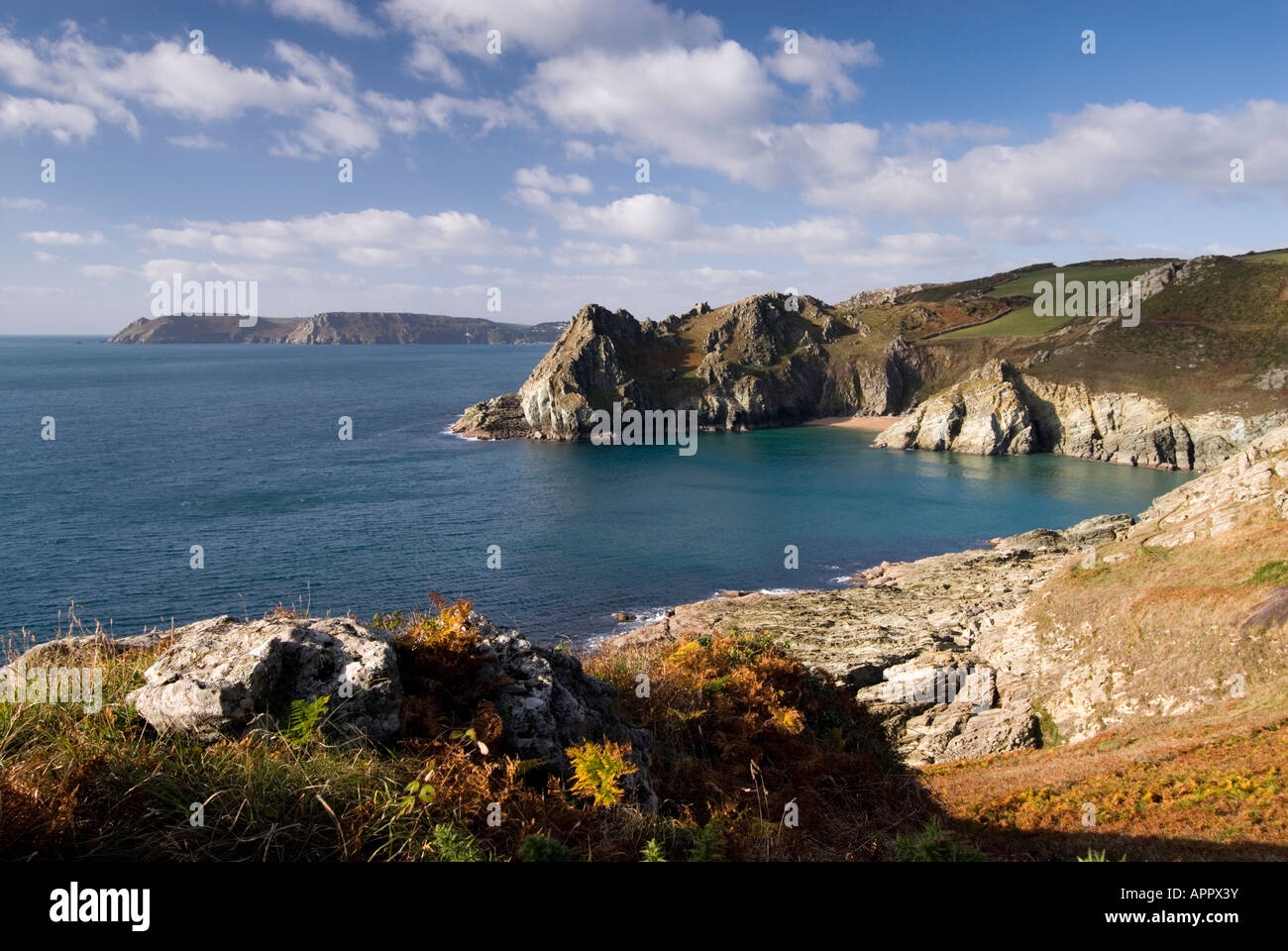 View of Gammon Head with Bolt Head near Salcombe in South Devon on a late autumn afternoon. Stock Photo