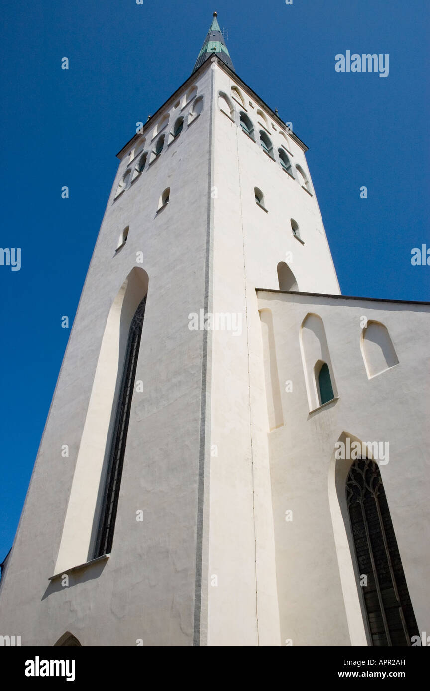The tower of Oleviste Kirik (St Olaf's church), Tallinn which was used by the KGB as a radio tower and surveillance - Stock Image