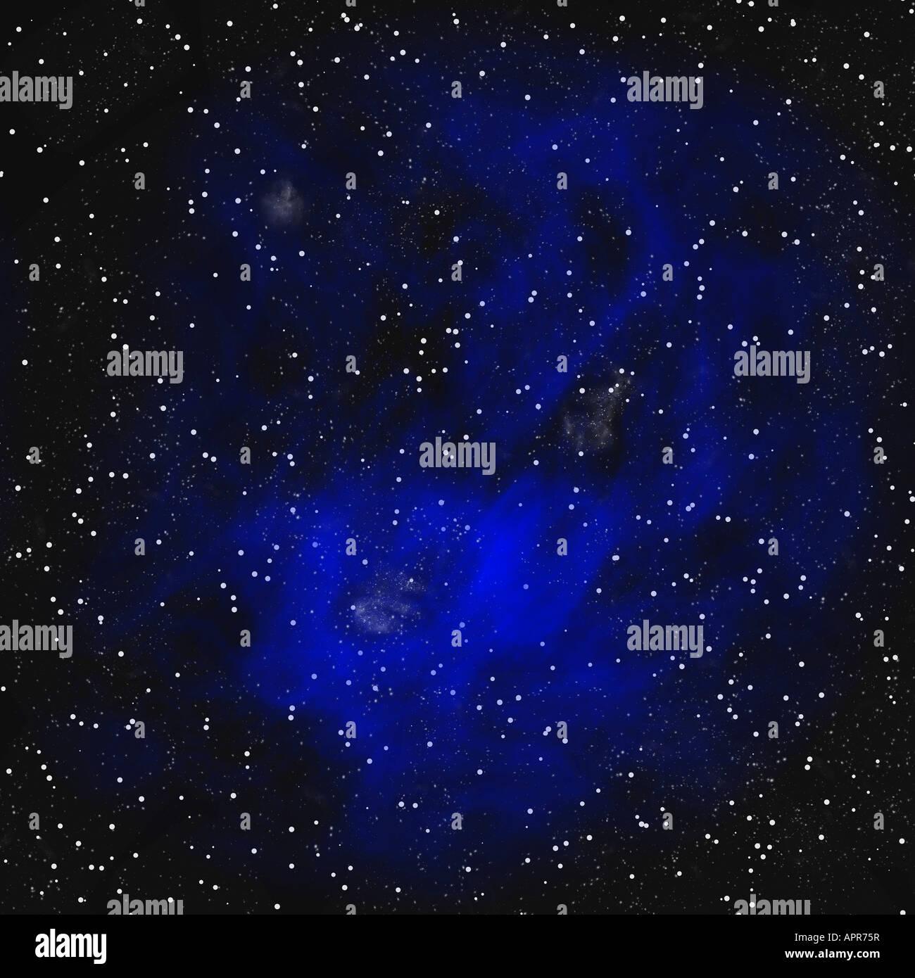 big blue space nebula and stars - Stock Image