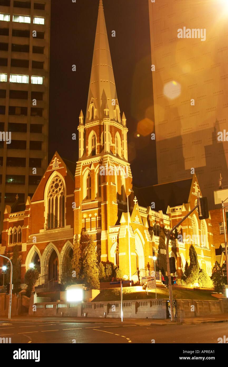 Albert Street Uniting Church at night Methodist Presbyterian Brisbane Queensland Australia - Stock Image