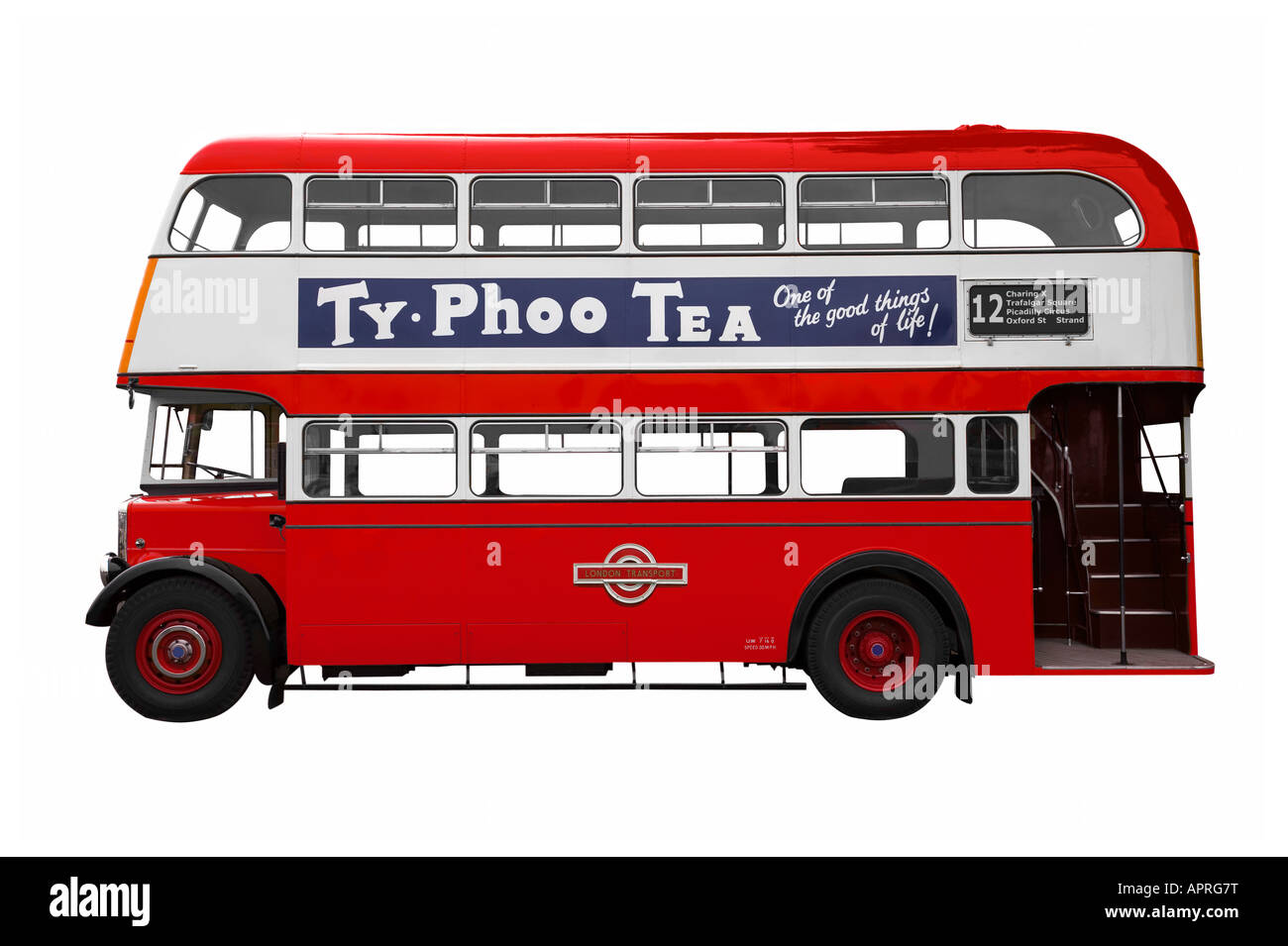 Vintage Red double decker bus isolated on white I also have the same bus available in my galery with no branding - Stock Image