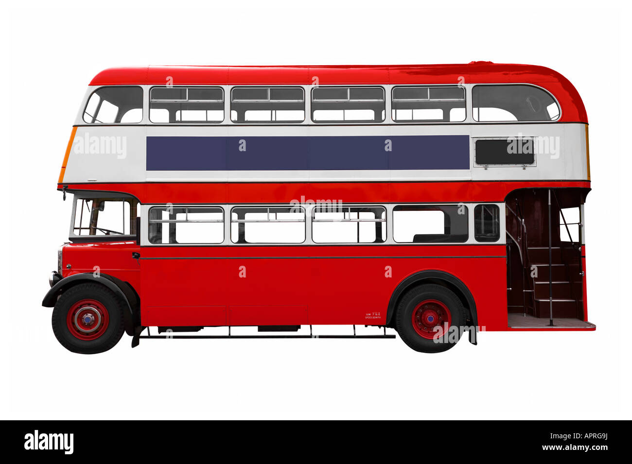 Vintage Red double decker bus isolated on white - Stock Image
