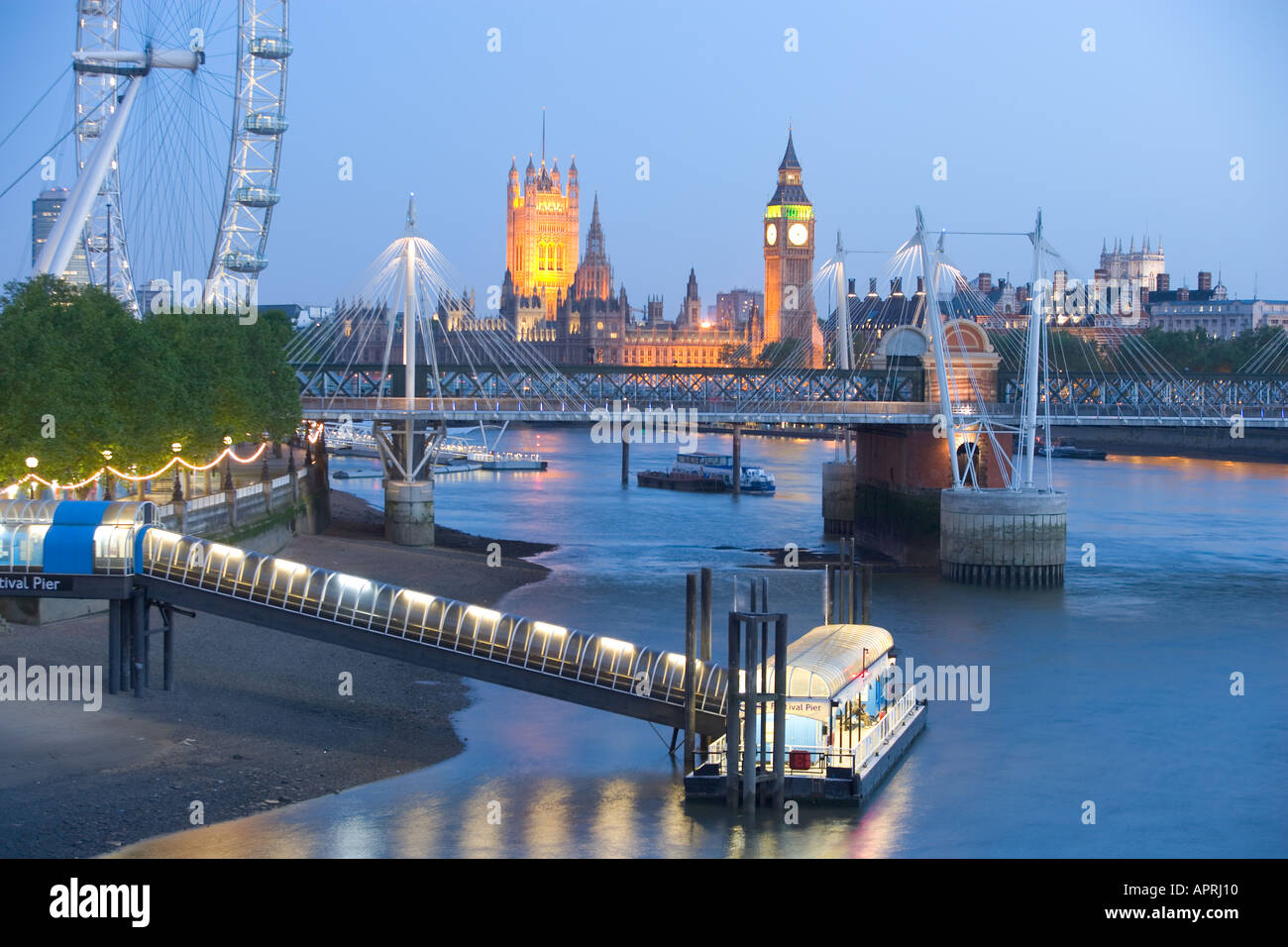 View of the London Eye and Big Ben from the River Thames London England UK Stock Photo