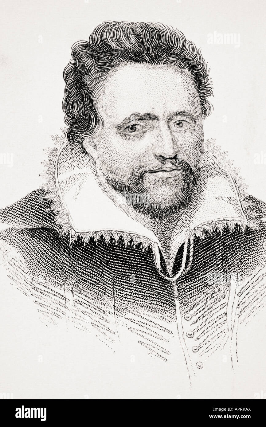 Ben Jonson also known as Benjamin Johnson born 1572 died 1637.  English Renaissance dramatist,  poet and actor. - Stock Image