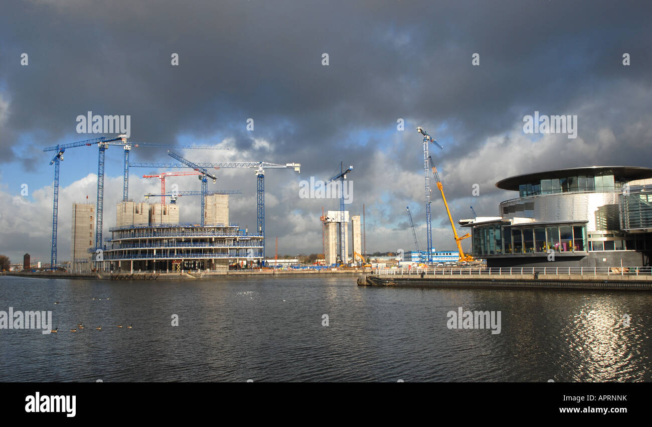 SALFORD QUAYS new Media City being built for the BBC - Stock Image