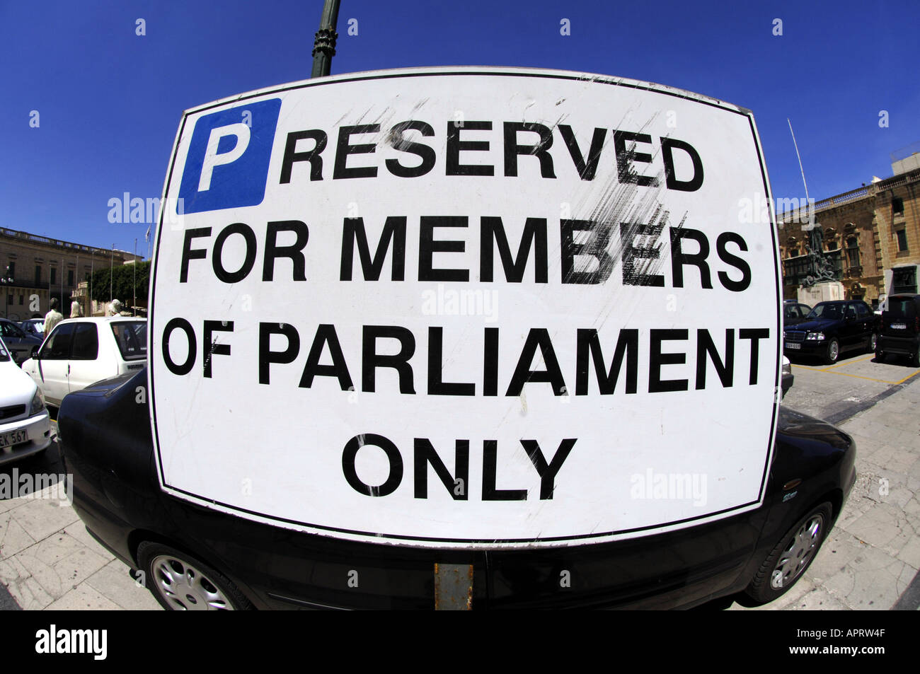 sign, reserved for members of parliament only, elitism, hierachy, elite, - Stock Image