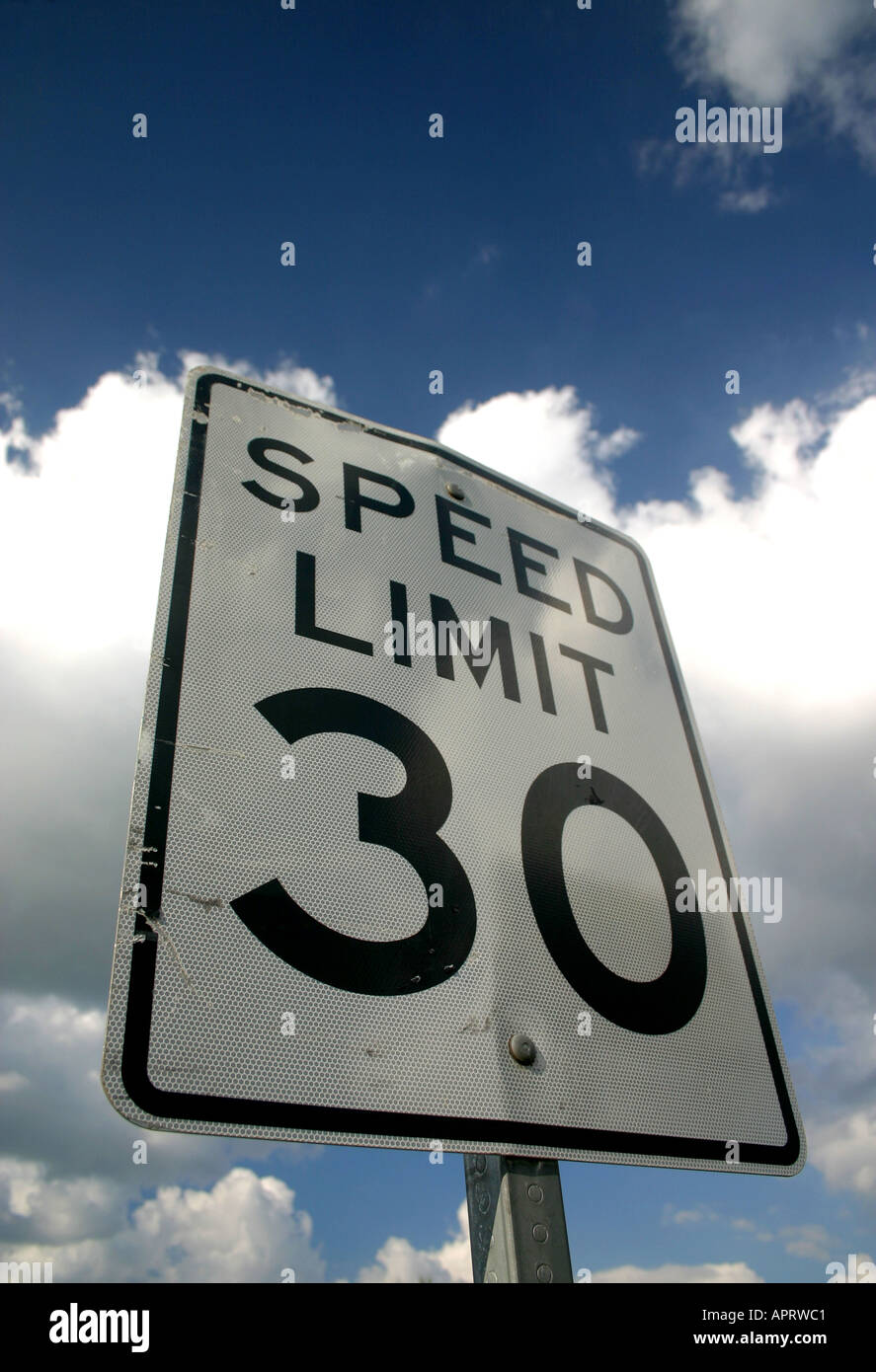 Speed Limit 30 mph warning sign Clearwater Beach Florida United States of America - Stock Image