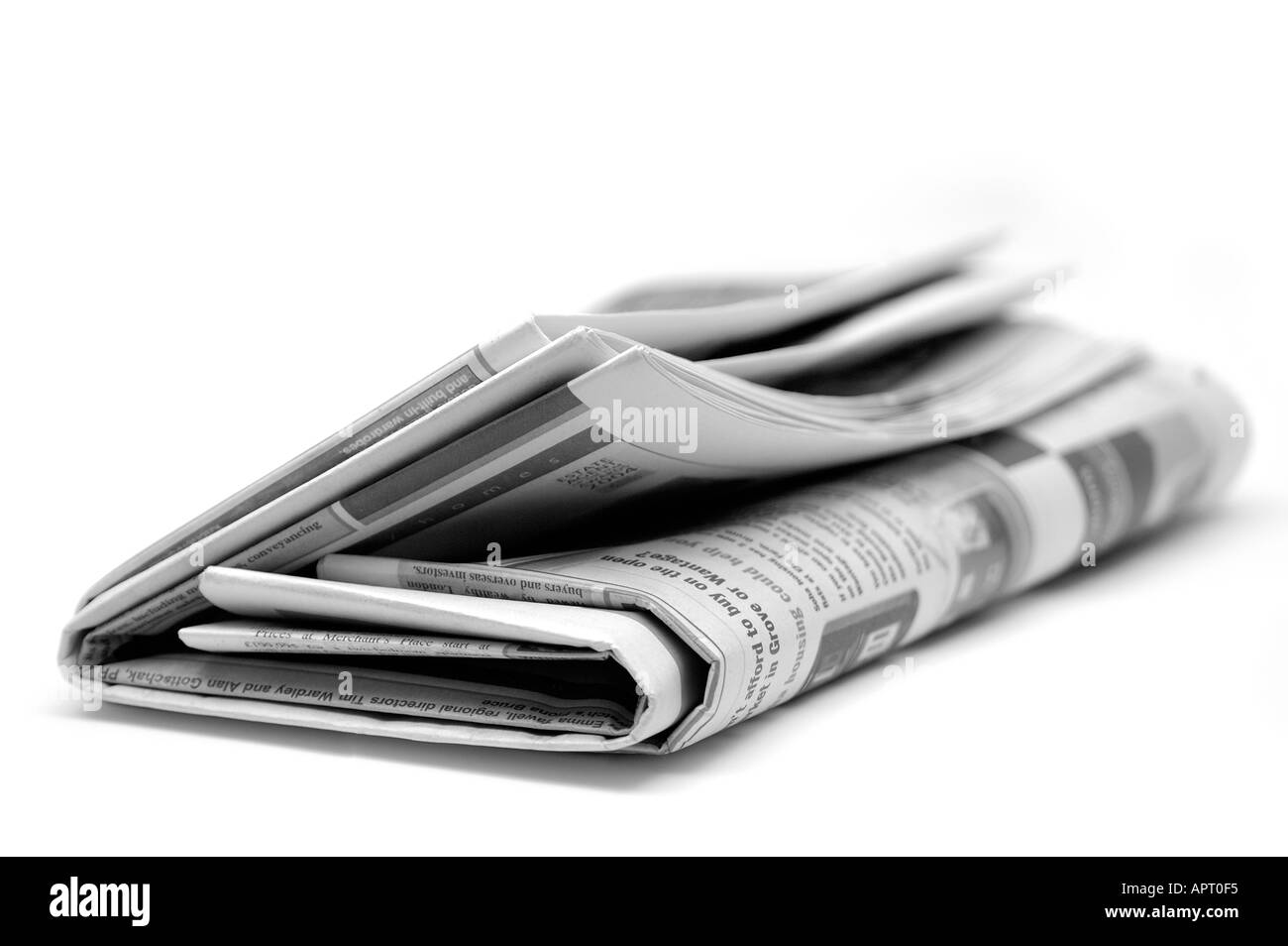 Newspaper on white background - Stock Image
