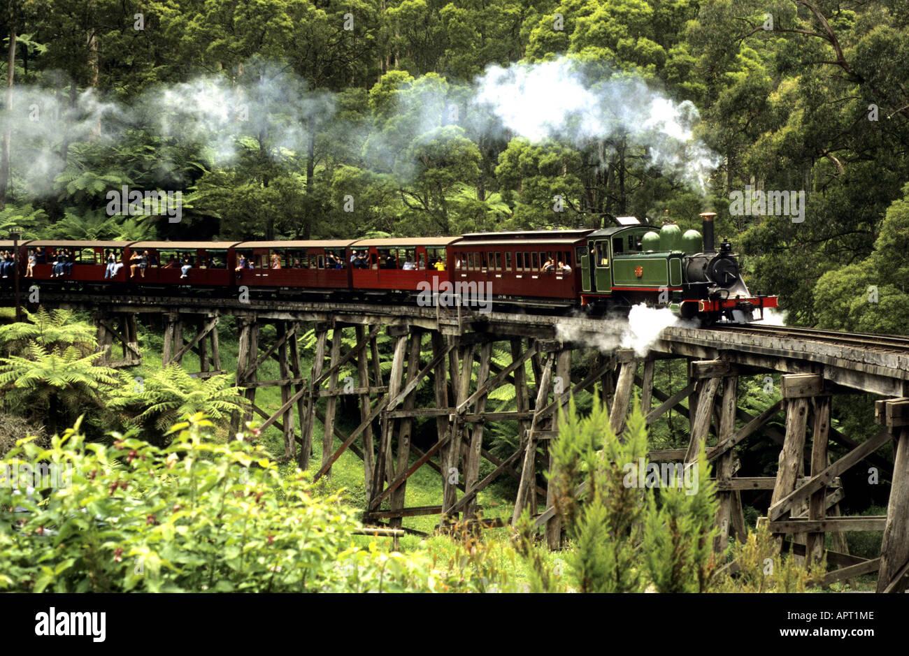 Steam train on Puffing Billy Railway, Belgrave, Victoria, Australia - Stock Image