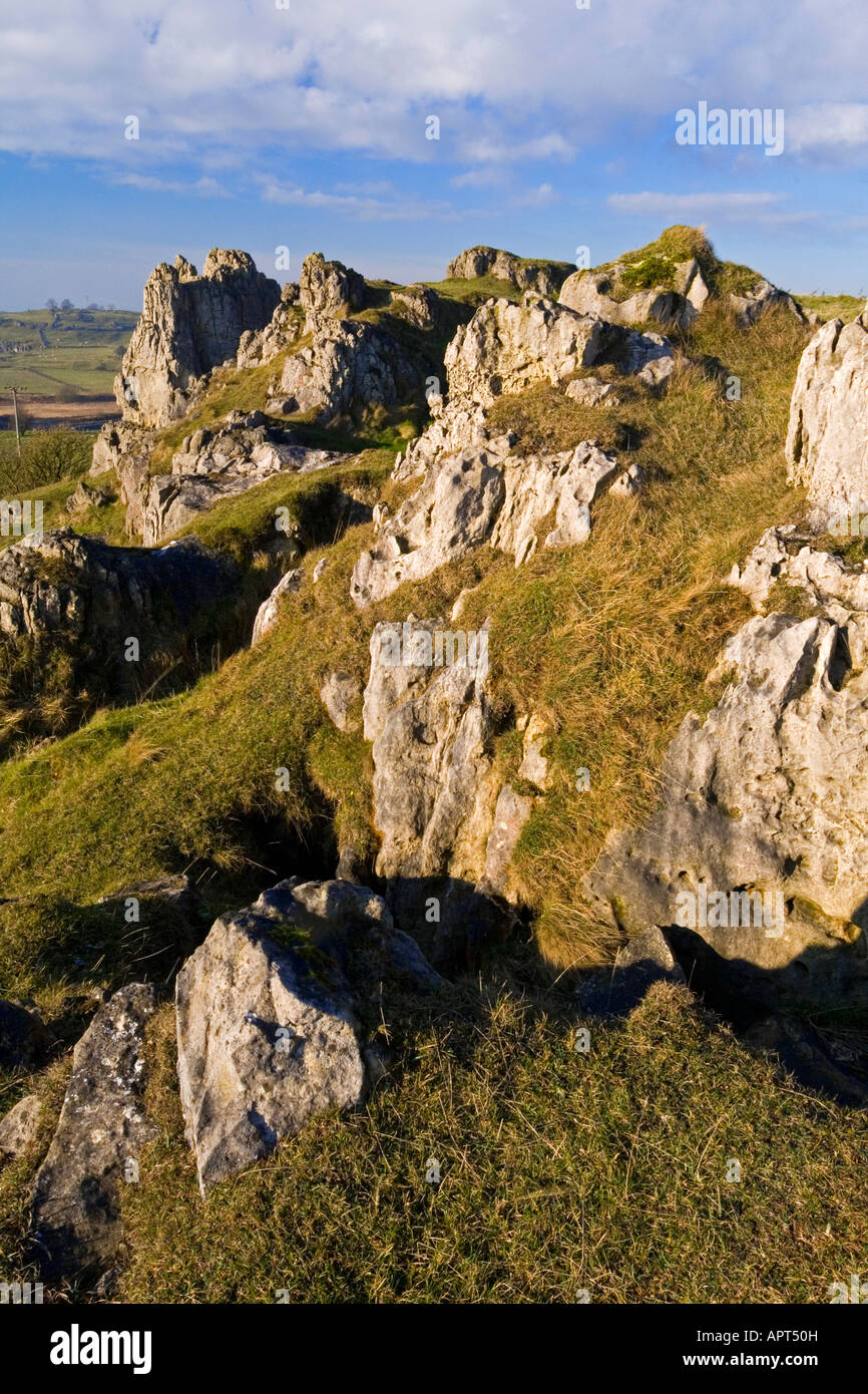 Limestone at Harboro Rocks near Brassington in the Peak District Derbyshire England UK - Stock Image
