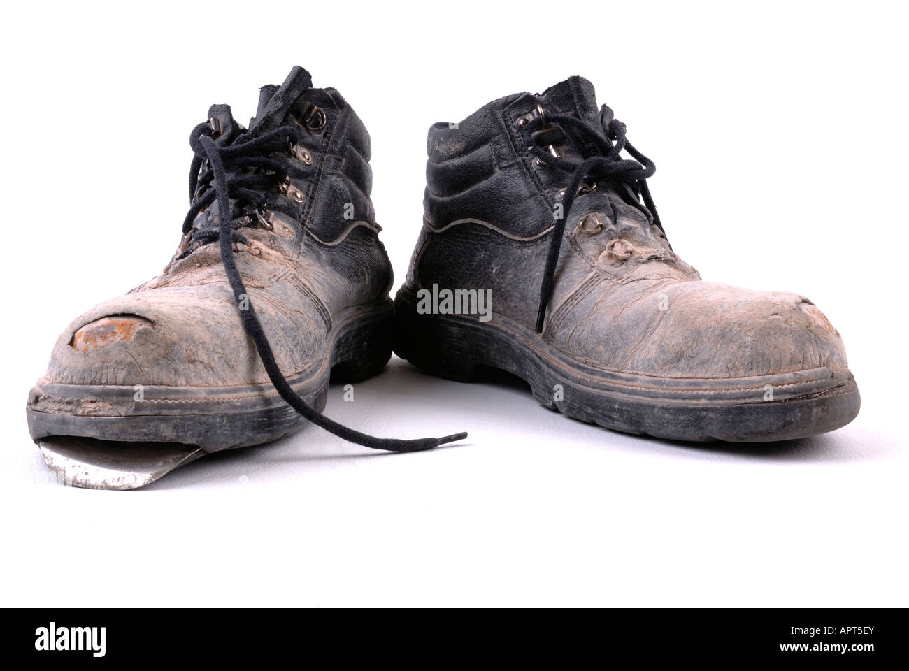 Old work boots - Stock Image