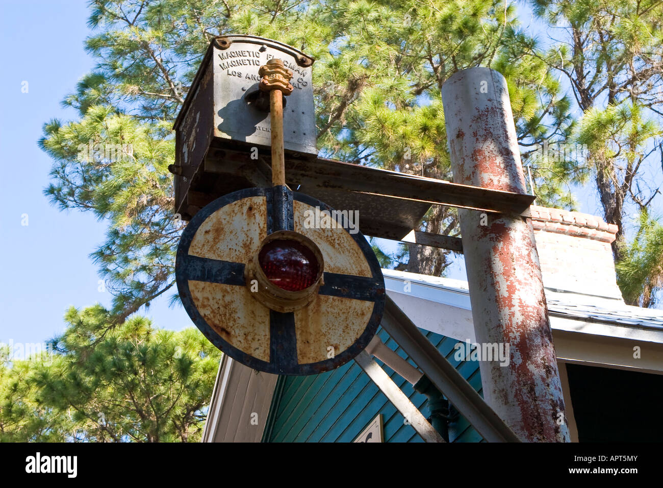Antique Railroad Crossing Signal Stock Photo: 15857546 - Alamy