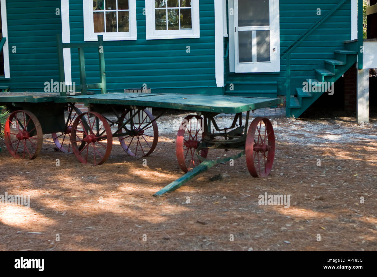 Mid to late 19th century train station baggage carts - Stock Image