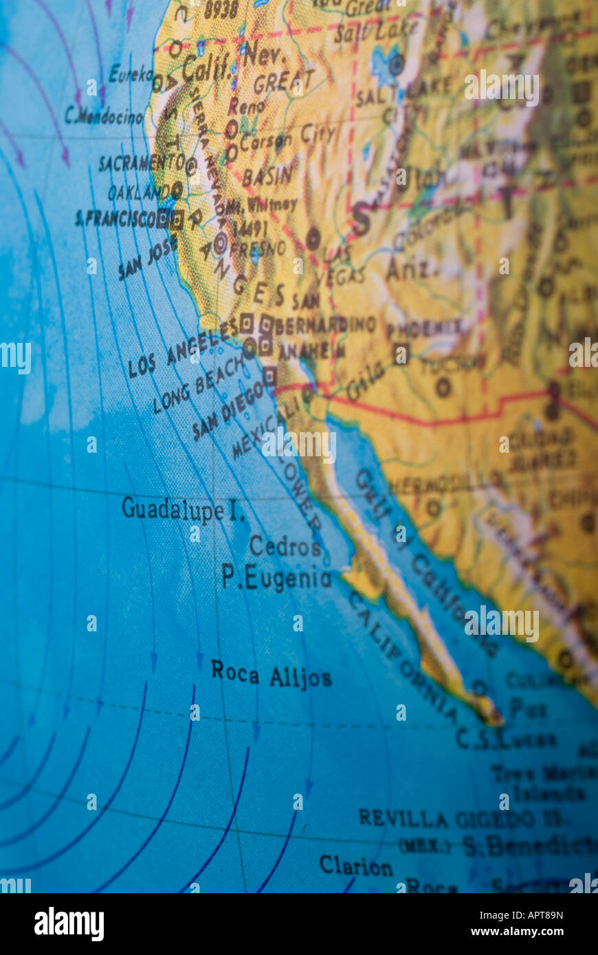 Image of a map showing the west coast of America Stock Photo ... on
