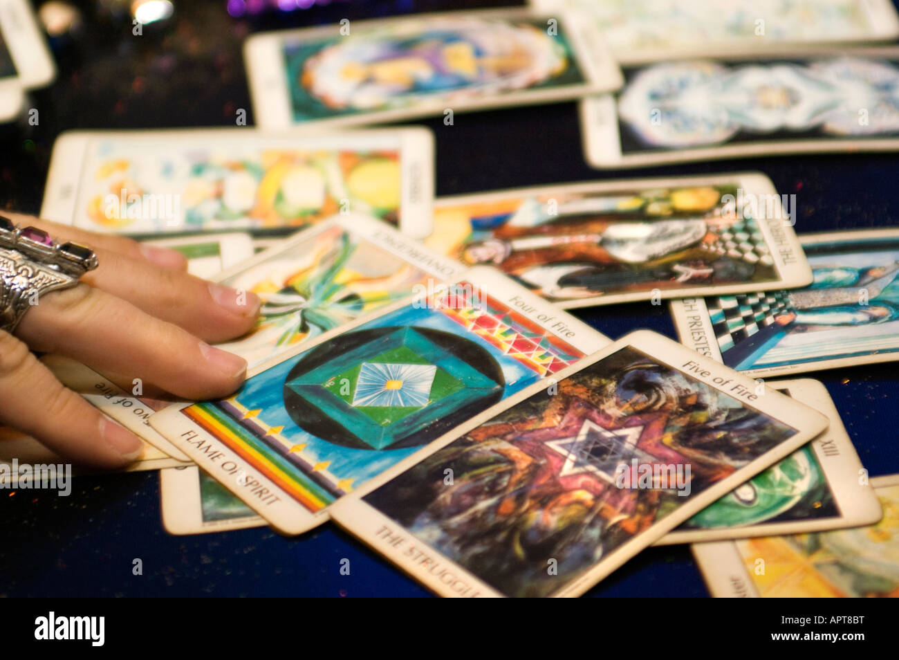 hand with tarot cards telling the future - Stock Image